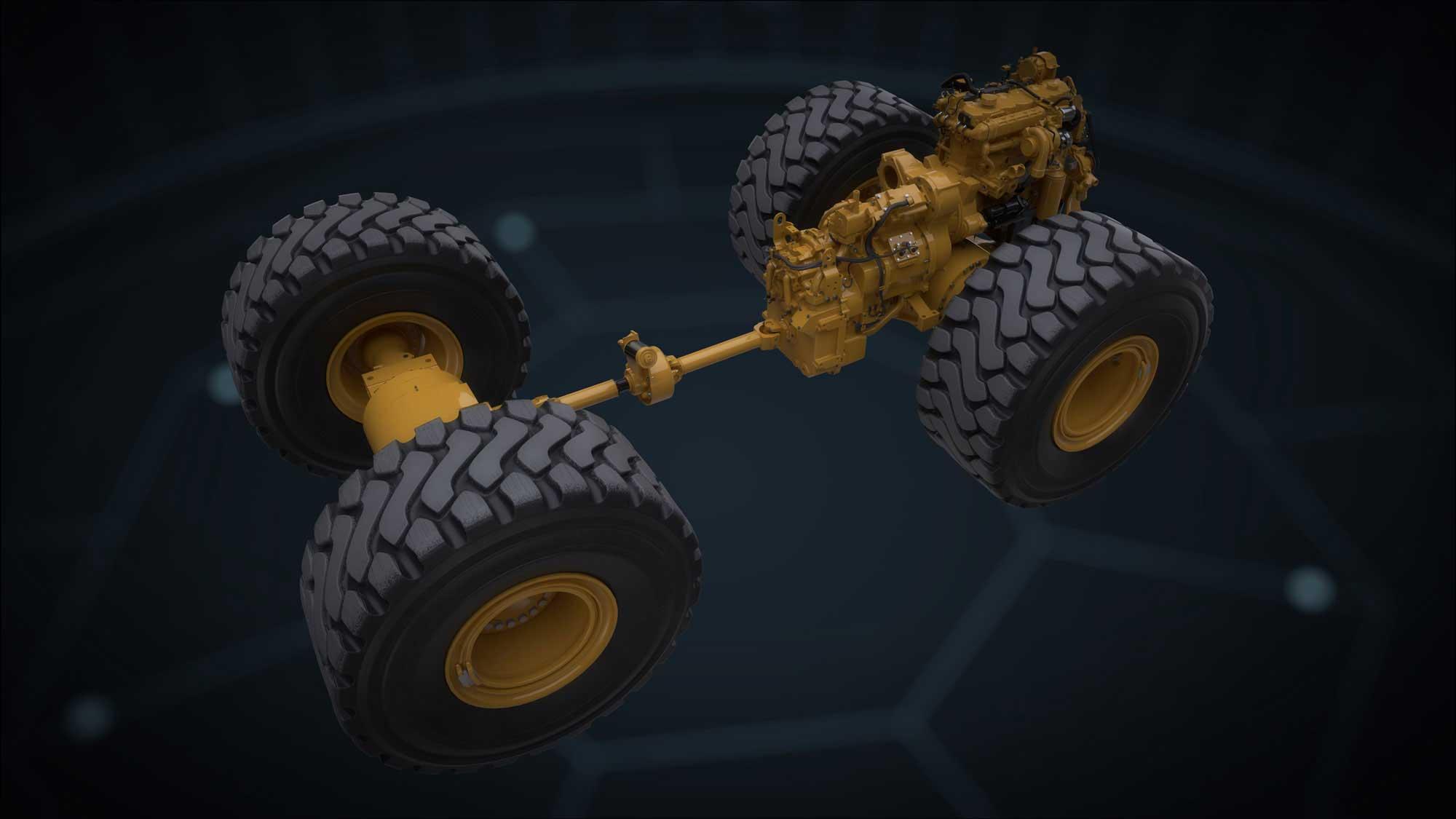 Kraftstrang eines XE-Radladers von Caterpillar, gleich hinter dem Motor die aufwendige Variatoreneinheit.