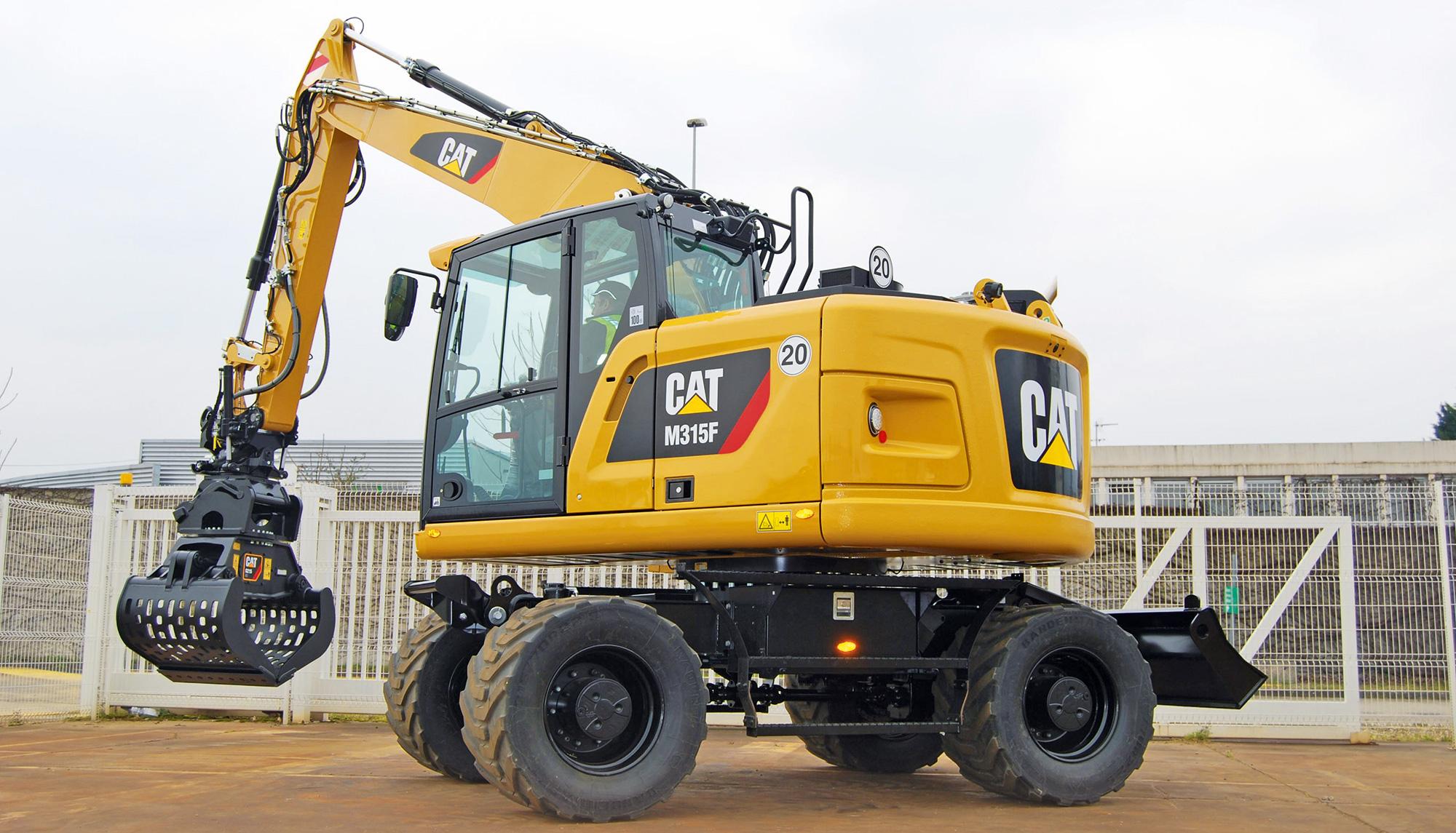 Wird auf der bauma Premiere feiern: ein neuer Cat Kurzheck-Mobilbagger M315F, den Caterpillar auf der Messe erstmals ausstellt.
